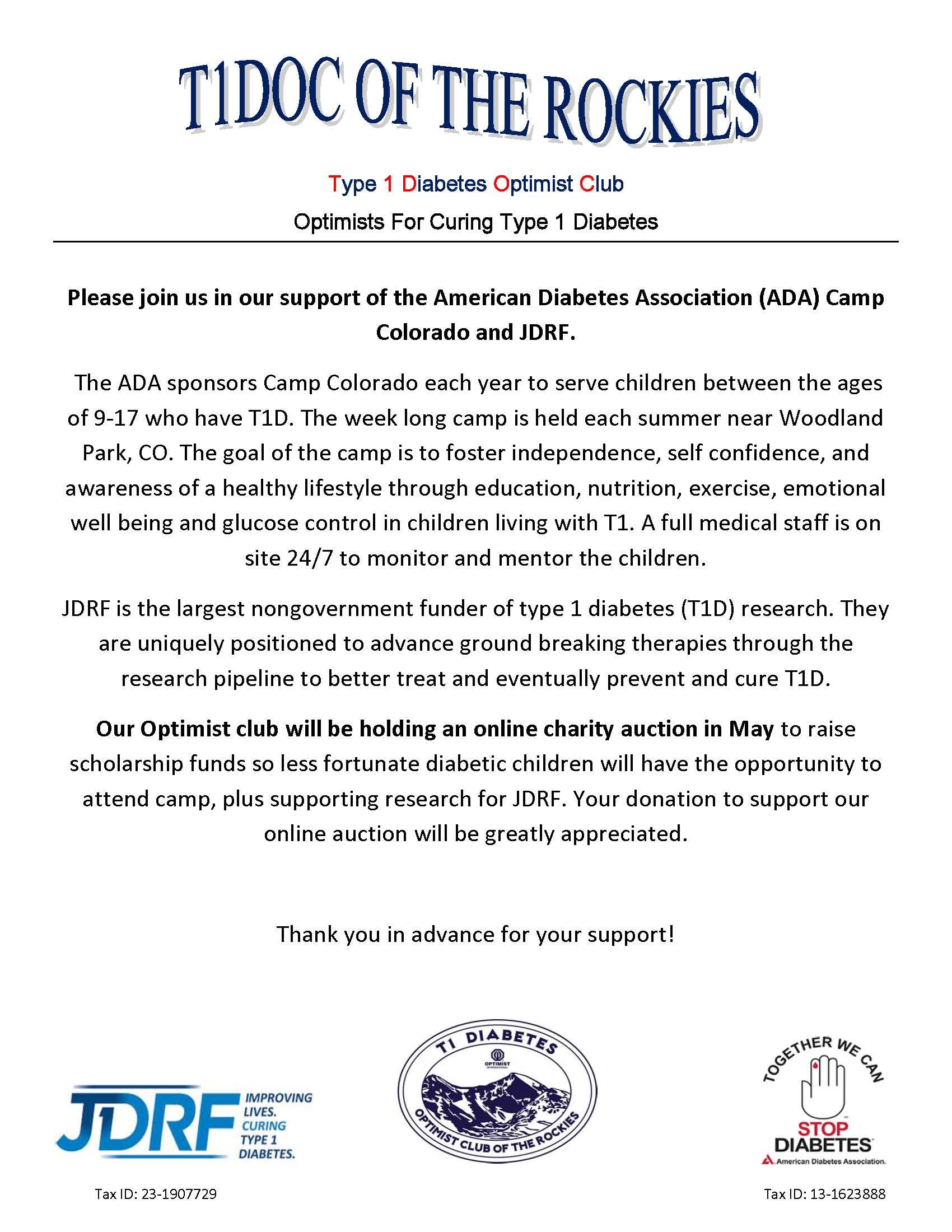 T1DOC Online Auction for Camp Colorado - T1 Diabetes Summer Camp